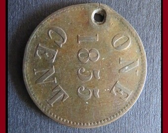 "Classic Antique (1855 Vintage Embossed ""One Cent"" & ""Fisheries and Agriculture"" - Canadian, Prince Edward Island, Brass Token Coin Pendant)"