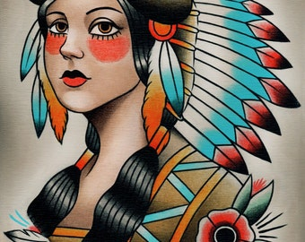 Native Indian Girl Traditional Tattoo Print