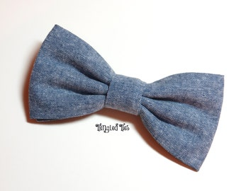 Blue Chambray Unique Bow Tie, Chambray Bow Tie For Toddler, Chambray Bow Tie Women's, Blue Chambray Freestyle Bow Tie