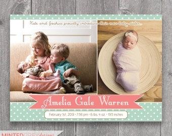 Printable Custom Photo Birth Announcement