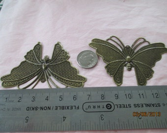 2 Large Butterflies for Jewelry Making,  Metal, Listing 14204