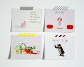 Whimsical Gifted Fools postcards - set of 4 -  fun, cute, send some love by snail mail today