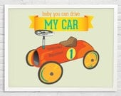 baby boy,Toy car print, Nursery Decor, children Art,The Beatles, quote