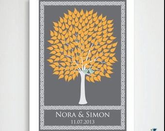 Modern Wedding Tree Guest Book  / Bridal Shower / In-law Gift / 2 Love Birds / Victorian Wish Tree / Summer / Fall Tree / 175 Guest // 20x30