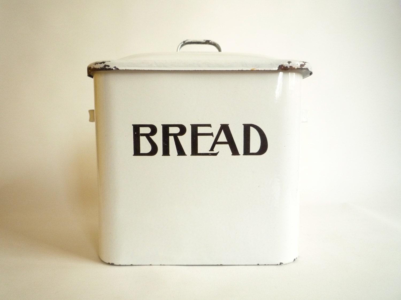 Antique Enamel Bread Box Bin Farmhouse Kitchen