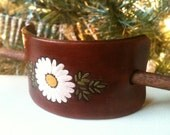 Leather Hair Barrette with stick - Daisy