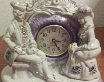 Beautiful Old Ceramic Clock Decoration