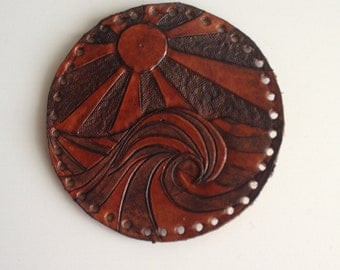 Surf patch tooled leather hand carved