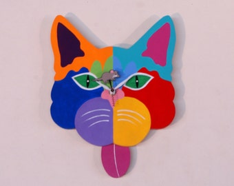 Cat Face Clock - red/yellow