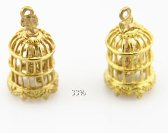 6 pcs of brass bird cage pendant charm with bird inside 10x14mm-1894-raw brass