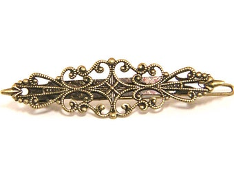 2pcs of brass filigree hair clip 57x17mm-M6003-antique bronze