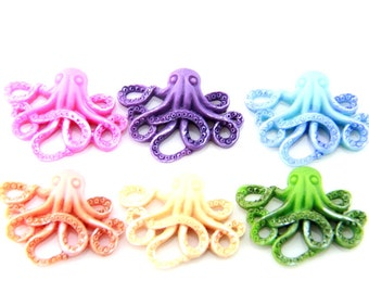 12 pcs of 6 colors  of resin Octopus cabochon 20x25mm-RC0104-HAND painted pearilzed -mix color