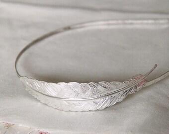 6pcs Brass Filigree feather headband 82mm filigree 2006-Silver