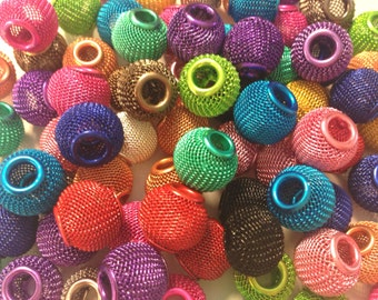 50 Pieces 14mm Mesh Beads Mixed Colors