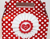 Red and White Polka Dot Gable treat Boxes 6 valentines day  favor boxes