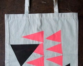 Cotton Tote bag - Screen printed in Flouro Pink and Black
