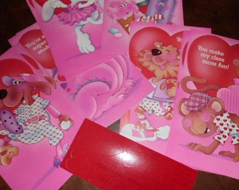 lot of 10 Vintage teacher Valentine cards and heart stickers for students  Current Inc