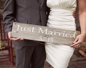 Just Married Rustic wedding sign   made from reclaimed wood