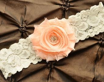 Wedding Garter, Bridal Garter- Ivory Lace Garter, Toss Garter, Shabby Chiffon Rosette Light Peach, Light Peach Wedding Garter, Peach Garter