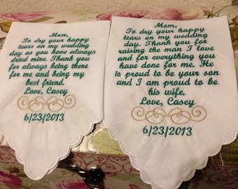 Personalized Mother and Mother In law handkerchiefs