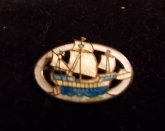 REDUCED Three Masted Ship Cloissnne Pin - Detailed and Pristine - 1 and 1/4 inches wide