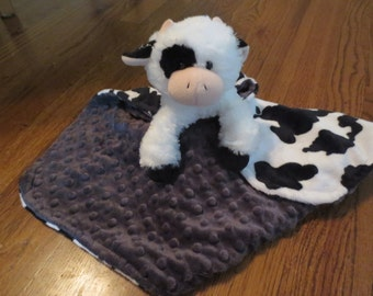 Security Blanket, Lovie, Clyde the Cow, Cuddle Soft Minky.