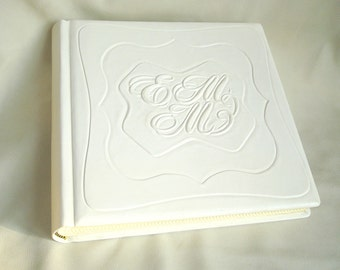 Personalized White Leather Photo Album Baptism, Christening 9 x 9 in.
