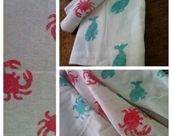 "Burp Cloth, red crab  28"" x 29""  cotton"