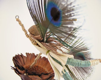 Fairy mobile, Flowers Fairy with Turquoise peacock feathers, Reclaimed Art home decor,