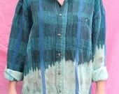 Vintage Ombre Bleached Flannel Shirt