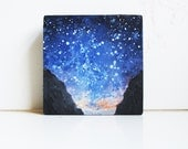 Summer Night Sky.   Oil Painting on Wood.  Small Original Artwork. Mountains.  Star Gazing.  Stars.