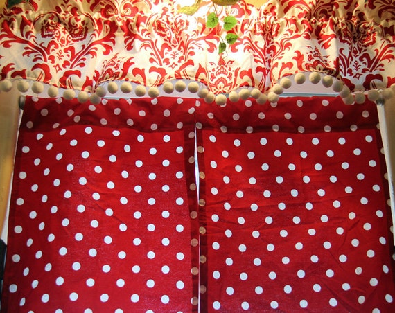 red and white polka dot curtains with valance
