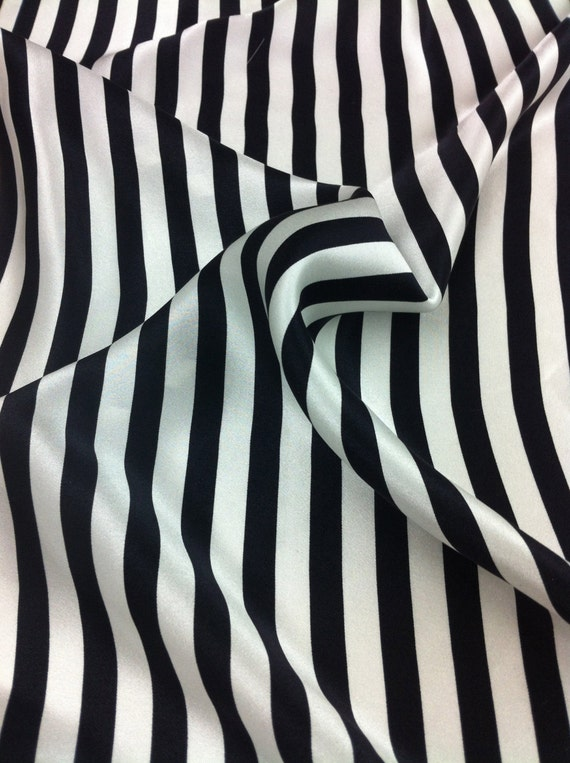 Black And White Striped Print Fabric Silk 1 Pc
