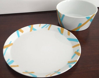Hand Painted Striped Soup Bowl and Salad Plate Set