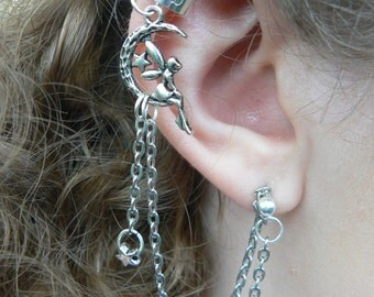 fairy on moon ear cuff with chains ONE boho moon ear cuff fairy ear cuff fantasy ear cuff cosplay ear cuff