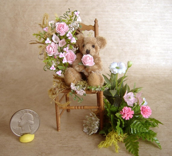 Dollhouse Miniature Teddy Bear Garden Chair 1:12 Scale