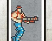 "Retro NES Contra inspired print 11X17"""