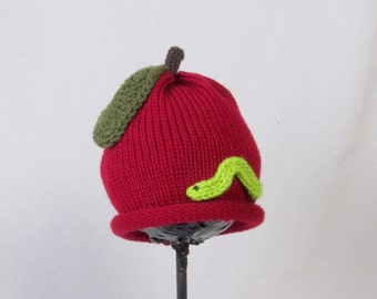 Custom Knit Apple with Worm Hat