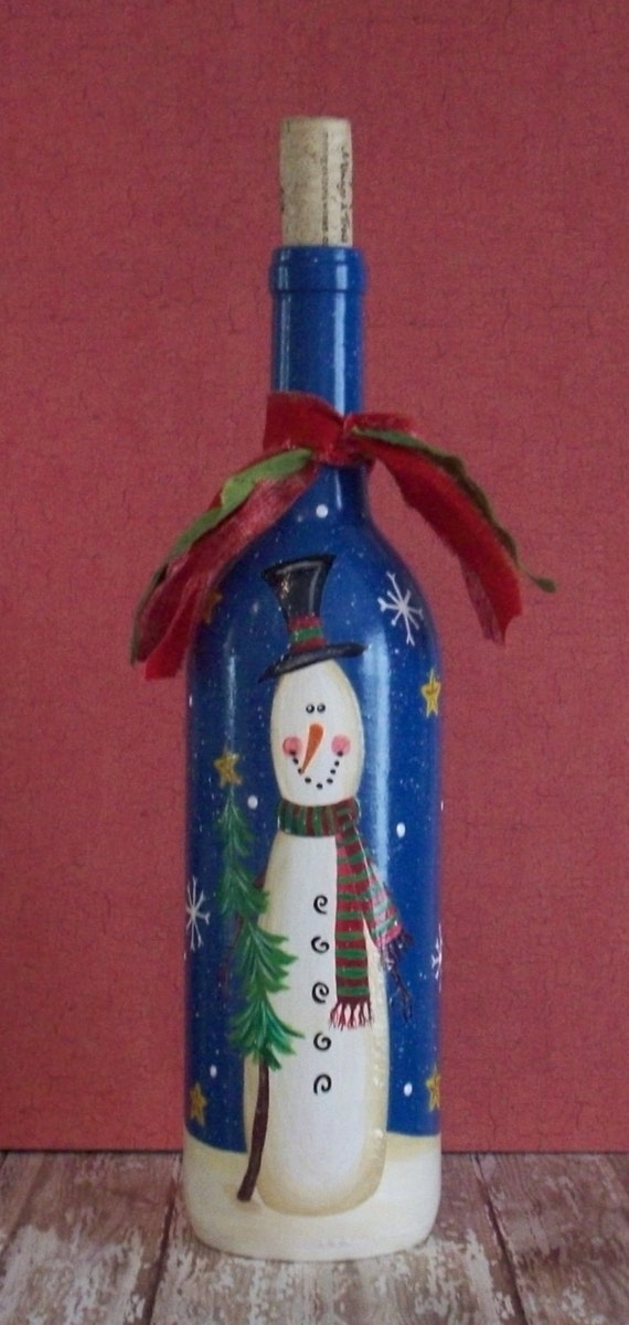 Items similar to hand painted christmas winter snowman for Christmas craft ideas with wine bottles