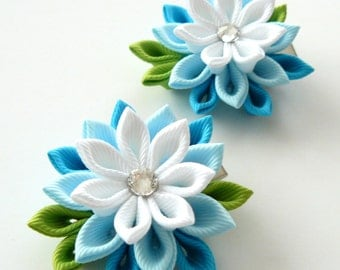 Kanzashi  Fabric Flowers. Set of 2 hair clips. Lt. blue, turquoise and white.