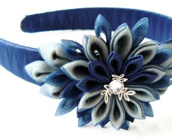 Kanzashi Fabric Flower headband.  Navy blue