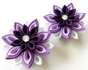 Kanzashi  Fabric Flowers. Set of 2 hair clips. Shades of purple.
