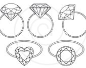 Diamond rings, engagement ring, digital clip art,  bridal shower, wedding invitation, solitaire, jewelry, commercial use, EPS, SVG, download