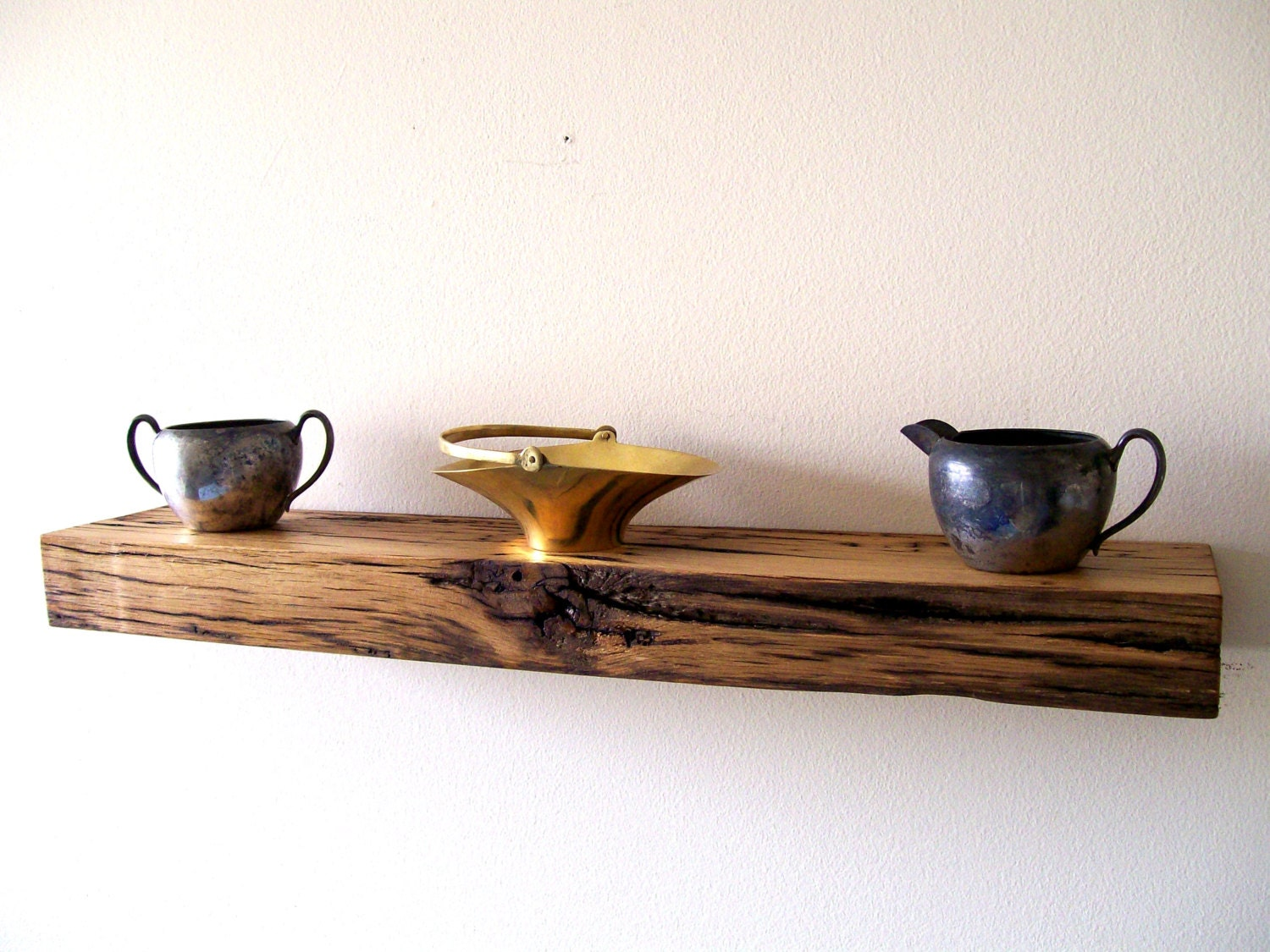 Reclaimed barn wood solid oak floating shelf wall shelf wall for Barnwood shelves for sale