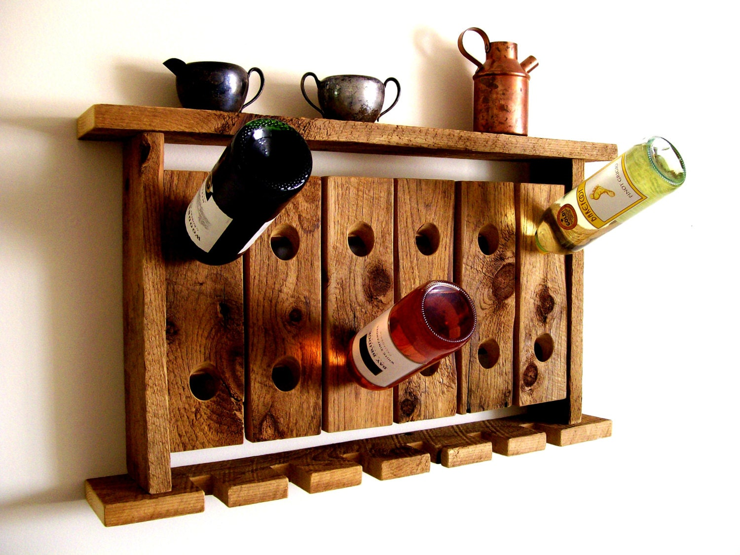 reclaimed wood wine rack wine glass holder wall shelf riddling. Black Bedroom Furniture Sets. Home Design Ideas