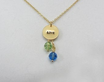 Love Mom Necklace,Family Necklace by Birthstone, Gold necklace, Simple, Everyday jewelry, Birthday gift, Gift for mom