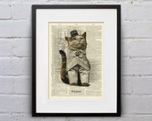 Lord Jingles Is Apathetic Today - Victorian Cat Dictionary Page Book Art Print - DPLJ024
