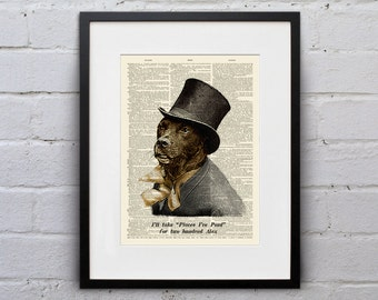 Dogs Love Jeopardy - Victorian Dapper Dog Dictionary Page Book Art Print - DPDD023