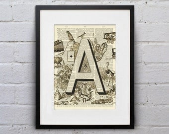 The Letter A Vintage French Alphabet - Shabby Chic Dictionary Page Book Art Print - DPFA001