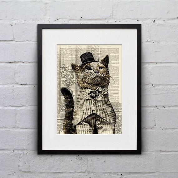 Portrait of Lord Jingles - Victorian Cat Dictionary Page Book Art Print - DPLJ001